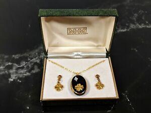 Chorro-de-cristal-preciosa-joyeria-oro-Trebol-Colgante-Collar-Aretes-Demi