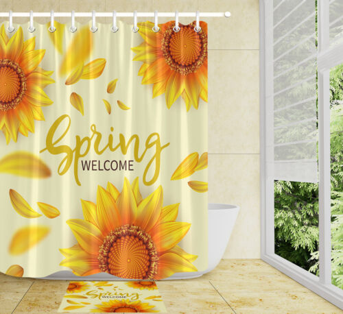 A Sun Flap Waterproof Bathroom Polyester Shower Curtain Liner Water Resistant