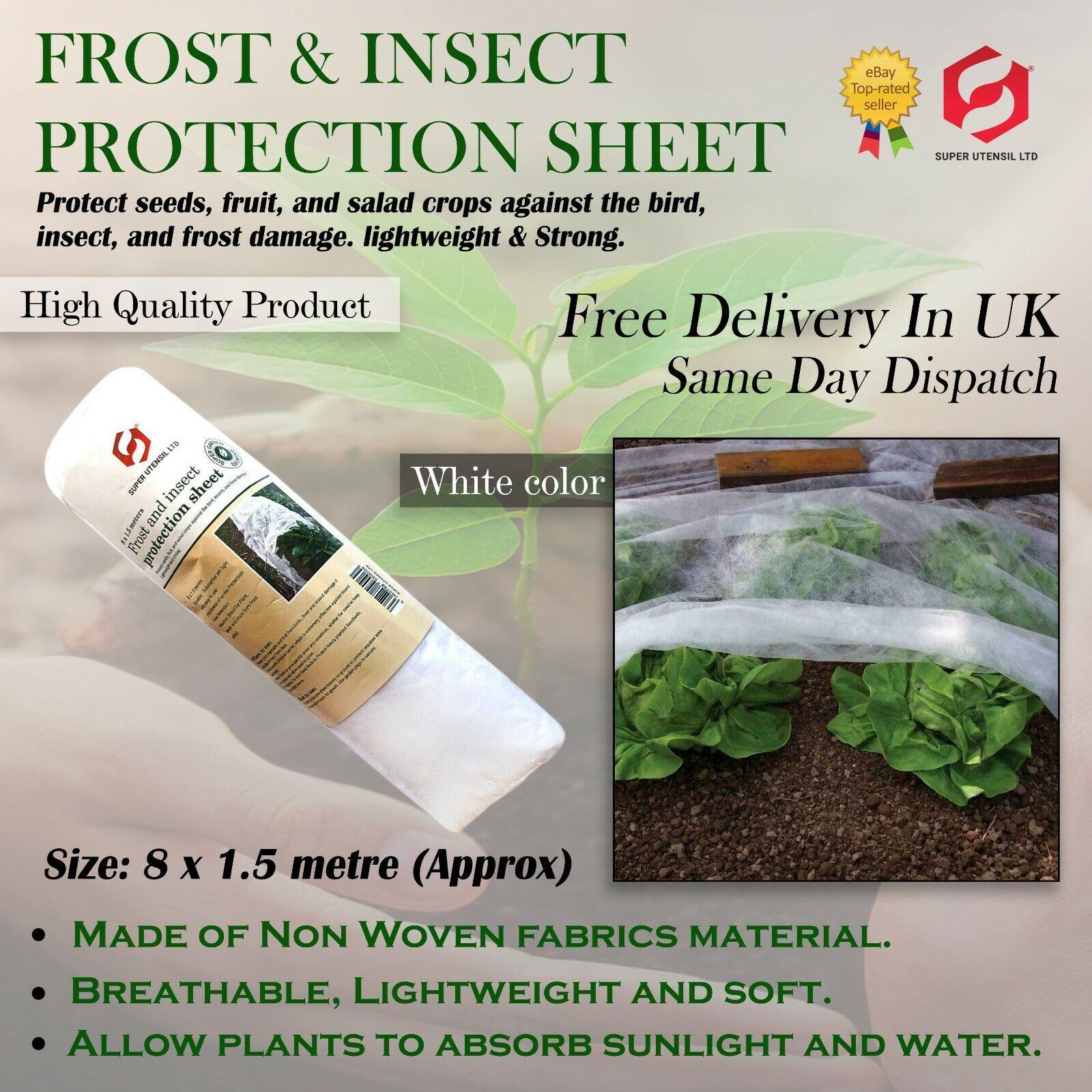 8 x 1.5m Frost Fleece Plant White Garden Cover HEAVY DUTY Lowest price 4.99 New