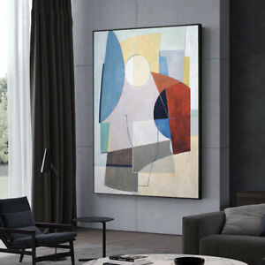 Vv383 Modern Hand Painted Abstract Color Block Oil Painting On