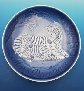 2013 Bing & Grondahl B&G Mother's Day Plate Zebra and Foal New in Box