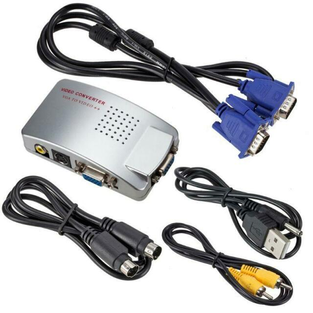 VGA to RCA Switch Box PC to TV AV Monitor Composite S Video Converter Adapter