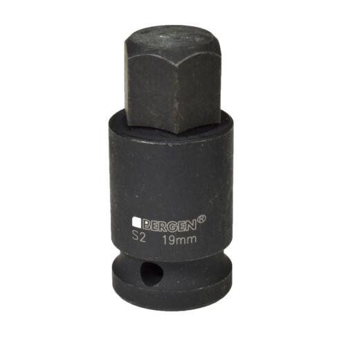 "M19 x 55mm 1//2/"" Drive Short Impact Impacted Allen Hex Key Socket By Bergen 19mm"