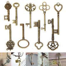 9 Large Vintage Antique Royal Skeleton Key Pendant Old Look Jewelry Craft Decor