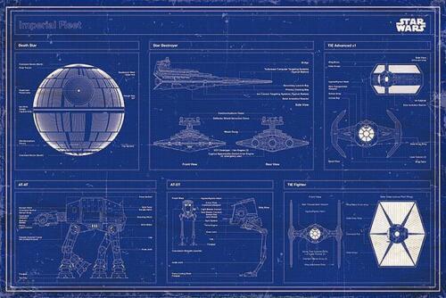Star Wars Poster Imperial Fleet Blaupause Patent Zeichnung Querformat 91,5x61 cm