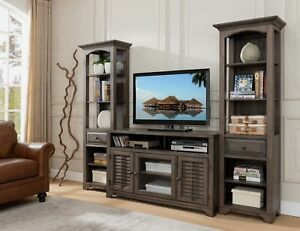 Kings Brand Austin Distressed Grey 3-Piece TV Wall Unit ...