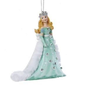 Kurt-Adler-4-034-Princess-Teal-Dress-Floor-Length-Faux-Fur-Cape-Christmas-Ornament