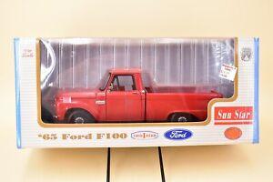 1/18 SunStar 1965 '65 Ford F100 Pickup Truck in Red Paint MIB