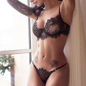 b0e30a9533a03 BD Ladies Transparent Lace Bra G-String Lingerie Set Sexy Floral ...