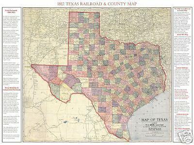 """1912 Texas Railroad /& County Map Poster~Kenyon 24x36/"""""""