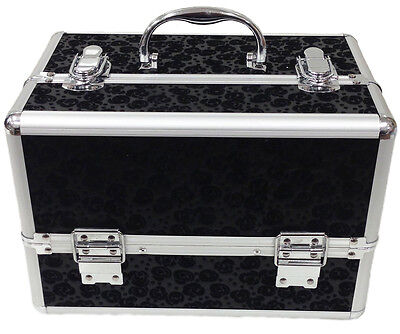 Large Floral Black Beauty Cosmetic Box Make Up Vanity Case Nail Tech Salon Bag
