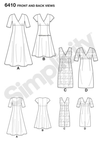 6410 MISSES/' DRESS with Skirt variations Sewing pattern NEW LOOK Sizes 10-22