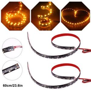 2X Red 60cm 30leds 335 SMD Car LED Slim Side Emitting Strip Light Flexible 12V