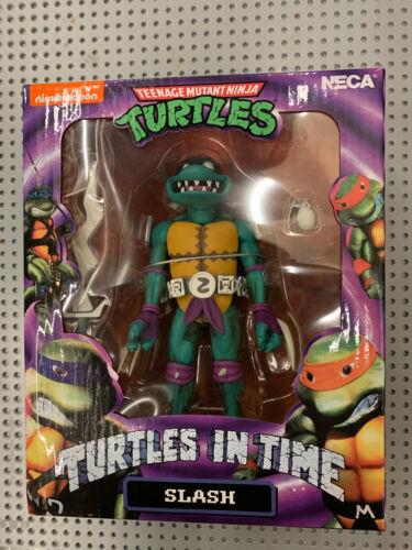 Slash, Leatherhead Turtles in Time figures Neca en main prêt à expédier Shredder