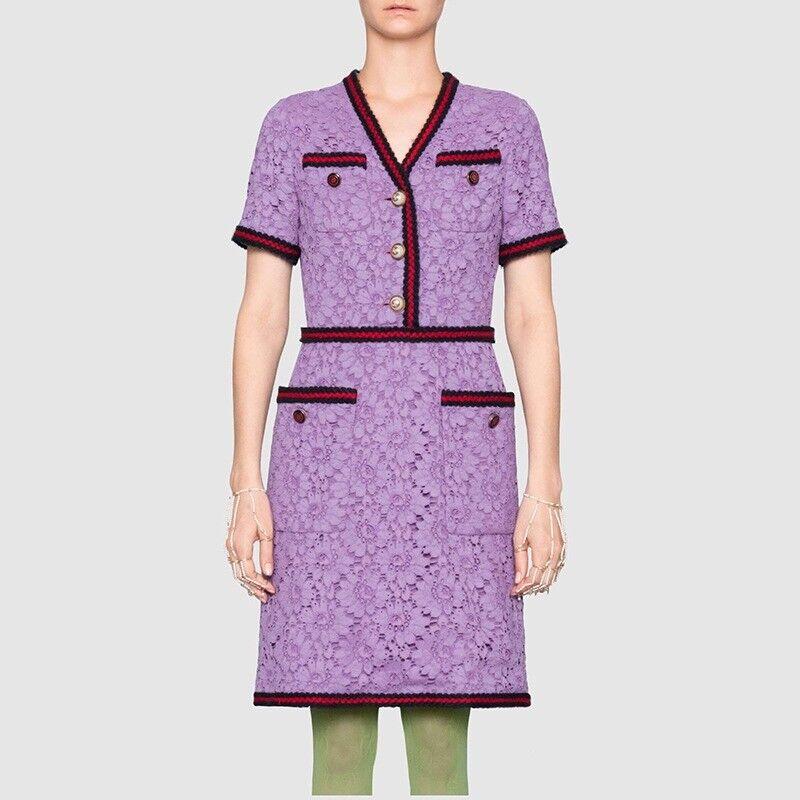 SYS01 daMänner Designer Inspirot Lace Kleid with Pockets