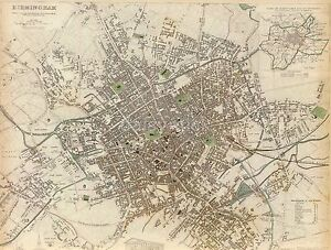 Map Of Birmingham England West Midlands 1839 Reprint 10x8 Inch Ebay