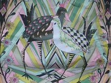 CATTAIL HIDEAWAY Fabric Panel Cotton Craft Quilting BIRDS Art Deco Style