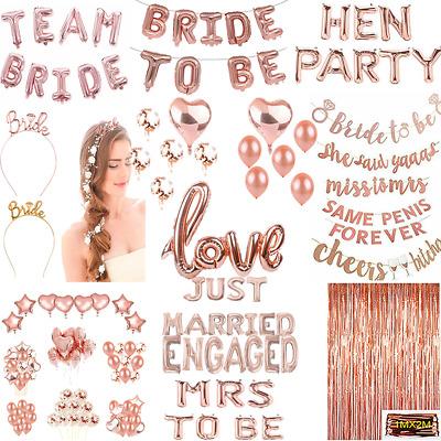 Hen party Balloon Bunting Rose Gold Pink Glitter Hen Wedding No Helium Needed