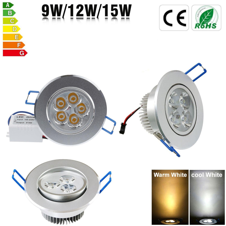 Regulador 9W 12W 15W LED Retraído Cielorraso Panel Downlight Spot Luz Lámpara Accesorio