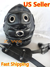 PU LEATHER Lockable O Ring Full Hood MUZZEL Mask Open Mouth Costume Party Play