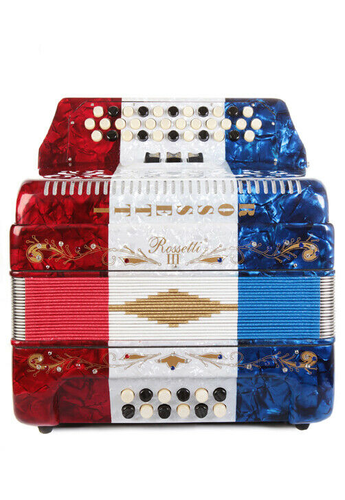 Rossetti 34 Button Accordion 12 Bass 3 Switches GCF USA Flag