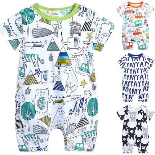 Toddler Kids Baby Boys Cartoon Romper Jumpsuit Outfit Summer Playsuits Babygrows