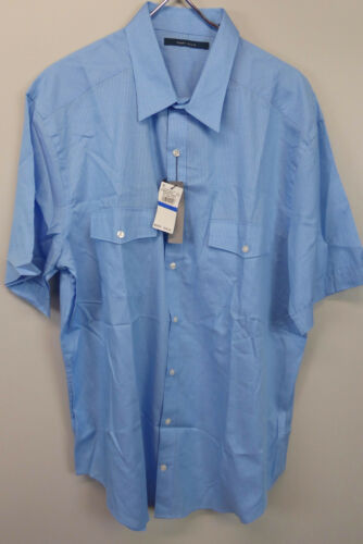 Perry Ellis Short Sleeve 100/% Cotton Double Chest Pockets Striped Shirt  $59 NWT