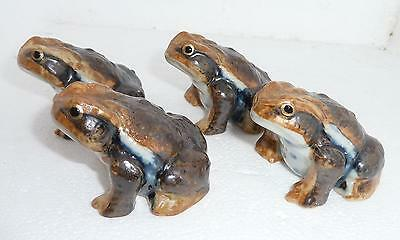 FOUR Collectible Ceramic Frogs / Toads 2 Large, 2 Medium Made in Japan