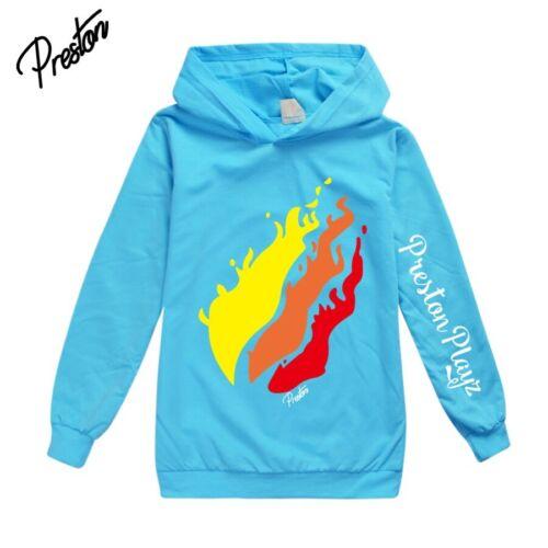 2020 Flame Preston Playz Kids Hoodie Youtuber Pullover Hooded Tops Birthday Gift