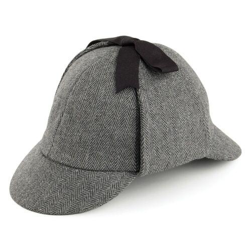 Jaxon /& James Herringbone Sherlock Holmes Deerstalker Hat Grey