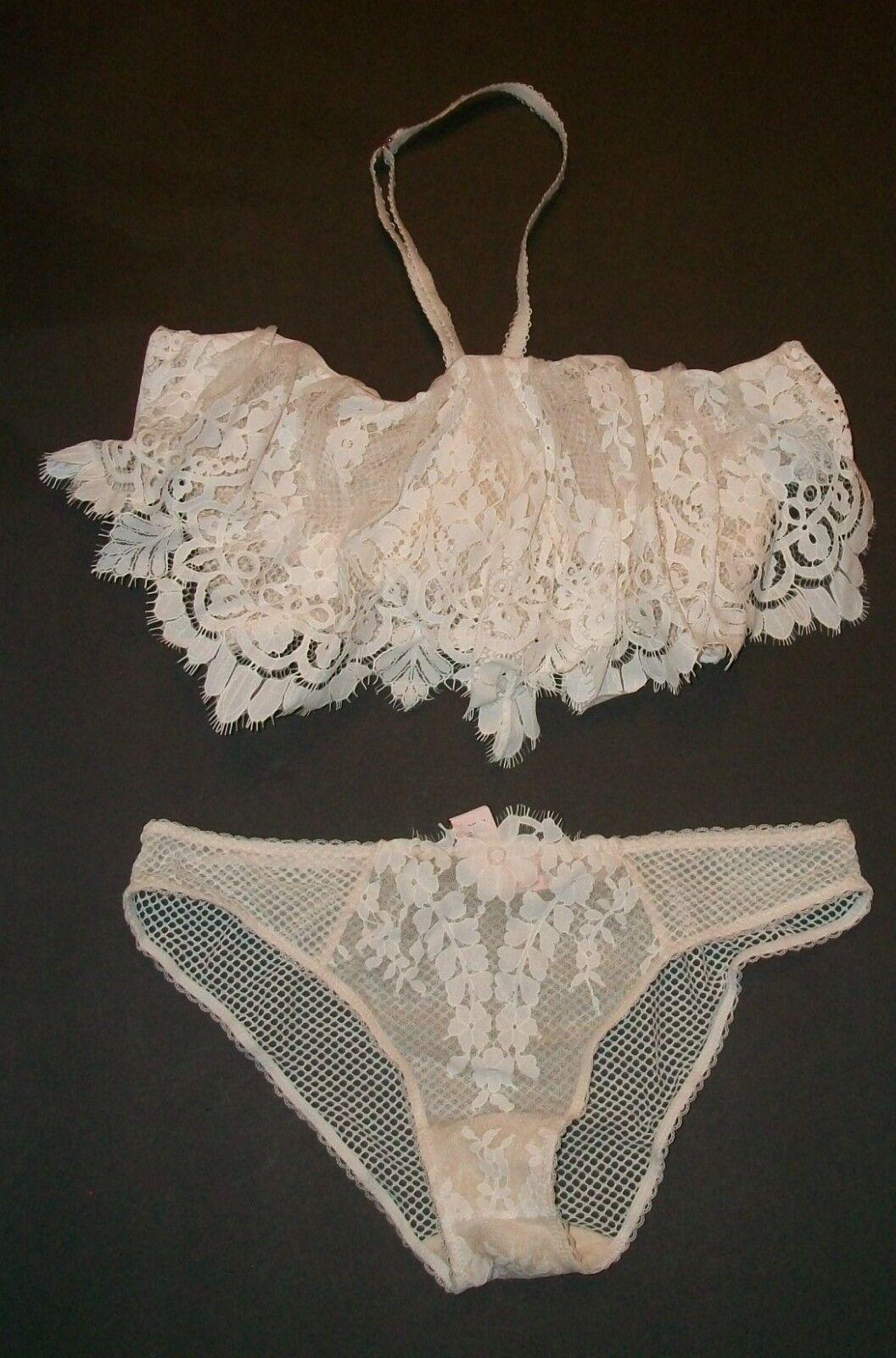 NWT Victoria Secret Dream Angel Longline Lace Flounce Bra Set 34DD M