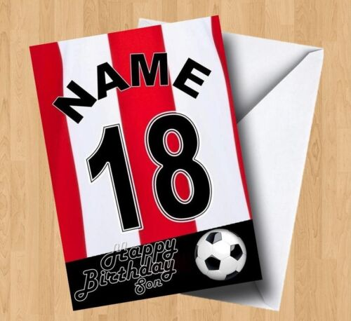 Personalised Red//White Striped Football Grandson//Son//Brother Birthday Card