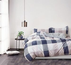 100/% Cotton Reversible Queen King Bed Quilt Cover Set Soft Duvet Fred Navy Pink