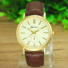 New Men's Women Quartz Gold Fashion Wrist Watch Leather Bracelet Brown