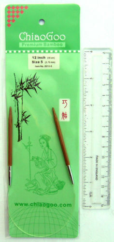 "12/"" chiaogoo bambou circulaire aiguilles à tricoter tailles assorties"