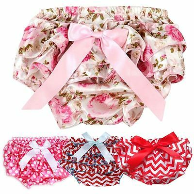 Cute Newborn Baby Girl Lace Ruffle PP Pants Sweet Bow Bloomer Pantskirt Shorts