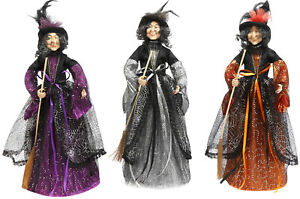 """24"""" Tall Standing Fabric Witch Dolls Figures Statues Halloween Decor Set of 3"""