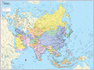 Detailed Map Of Asia.Details About Cool Owl Maps Asia Continent Wall Map Poster Paper 32 X24