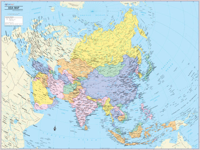 Cool Owl Maps Asia Continent Wall Map Poster - Paper 32\