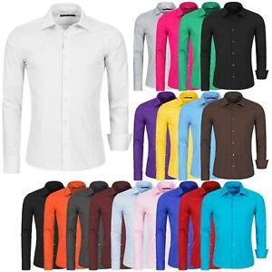 Hemd-Herren-Slim-Fit-Business-Freizeit-Hochzeit-Shirt-Buegelleicht-Hemden-Langarm