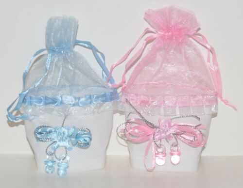 12 pc lot BABY SHOWER FAVORS GIFTS PARTY FAVORS MINI TOTE W//PACIFIERS RECUERDOS