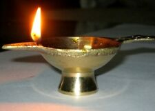 5 Brass Oil Lamp Lighting Diyas India Diwali Hindu Navratri Puja Religious Items