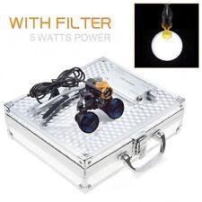 Dental 5w Led Headlight With Filter 35x Binocular Loupes Aluminum Box Silver