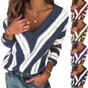 Strickpullover Sweater Fledermausärmel Damen Pullover Pulli Lose Bluse Shirt Top