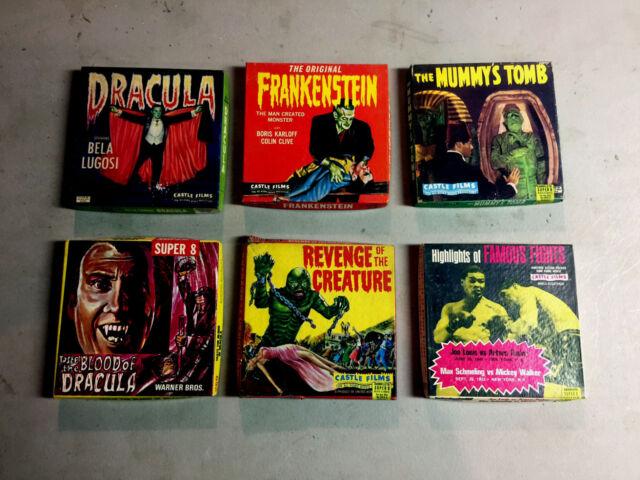 FIVE Vintage Horror Films Super 8mm & 8mm ~ B&W - Frankenstein, Dracula, more...