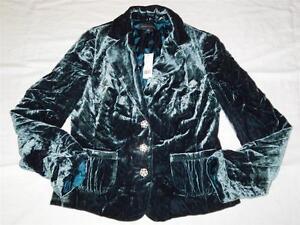 New Women's Banana Republic Dark Teal Velvet Jacket Size 8 ...