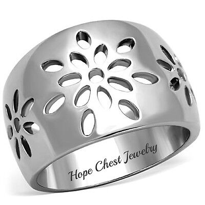 Women's Silver Stainless Steel Flower Design Dome Style Fashion Ring SIZE 5 - 10