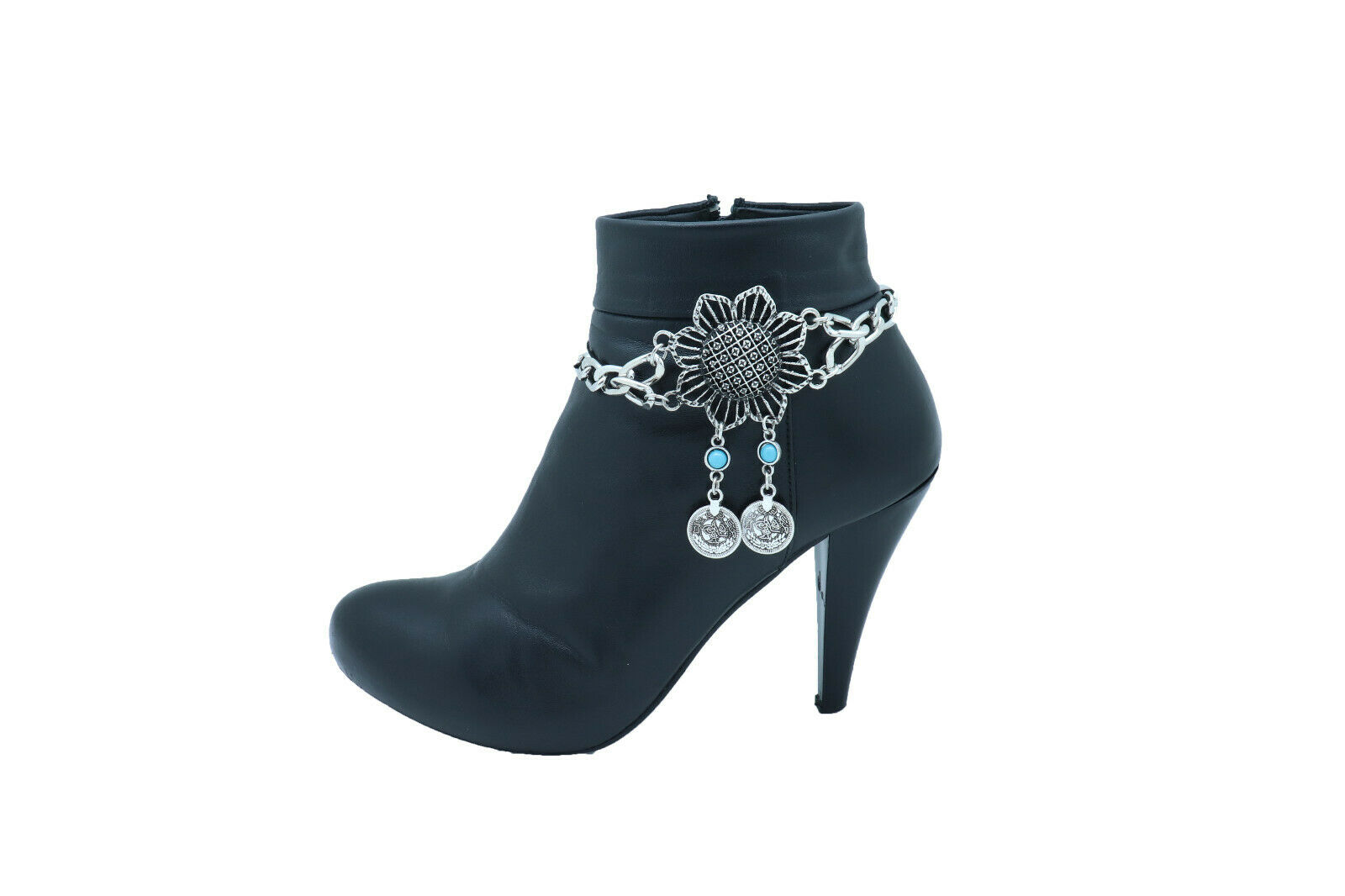 Women Silver Metal Chain Boot Bracelet Anklet Shoe Flower Coin Charm Wrap Around