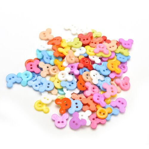100 PCS Mixed 2 Holes Buttons Clothing Sewing DIY Craft for Kids 10mm#K