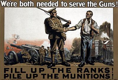 W78 Vintage WWI British War Work Ammunition Munitions Poster WW1 Re-Print A4